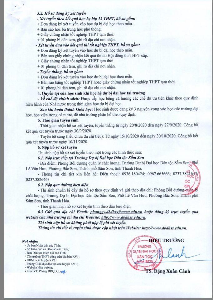 Trường Dự bị Đại học dân tộc Sầm Sơn thông báo tuyển sinh